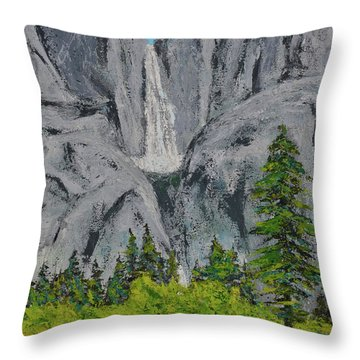 Yosemite Upper Falls Throw Pillow
