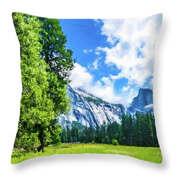 Yosemite Valley And Half Dome Digital Painting Throw Pillow