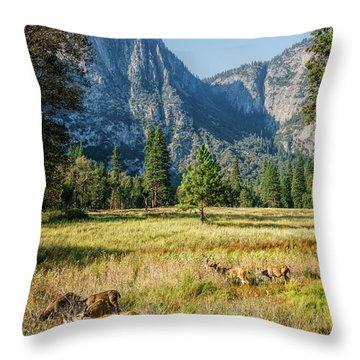 Yosemite Valley At Yosemite National Park Throw Pillow