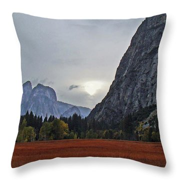 Throw Pillow featuring the photograph Yosemite Valley Fall Sunset 2012 by Walter Fahmy