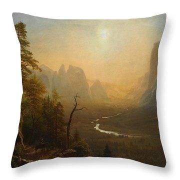 Yosemite Valley Glacier Point Trail Throw Pillow by Albert Bierstadt