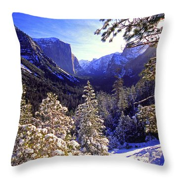 Yosemite Valley In Winter, California Throw Pillow