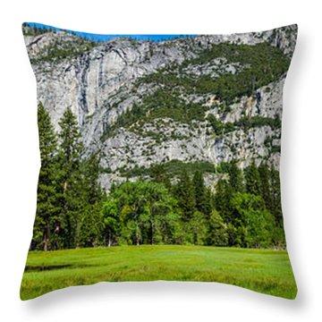 Yosemite Valley Meadow Panorama Throw Pillow