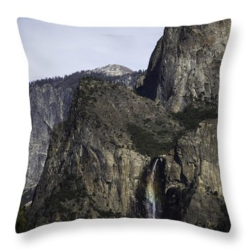 Yosemite Valley Rainbow Throw Pillow