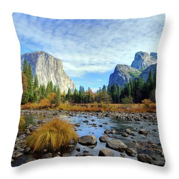 Yosemite Valley View Throw Pillow