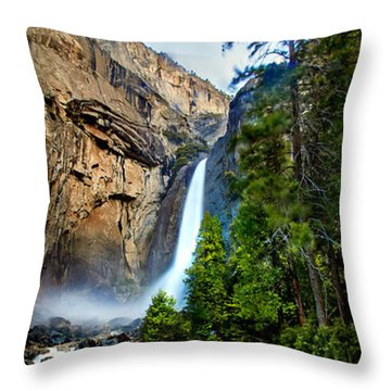 Yosemite Waterfall Throw Pillow