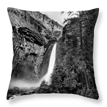 Yosemite Waterfall Bw Throw Pillow