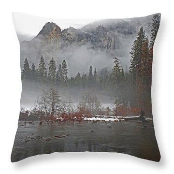 Throw Pillow featuring the photograph Yosemite Winter Beginnings by Walter Fahmy