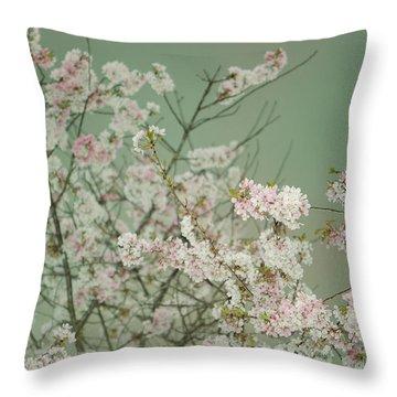 Yoshino Cherries Jade Throw Pillow