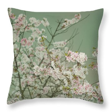 Yoshino Cherries Jade Throw Pillow