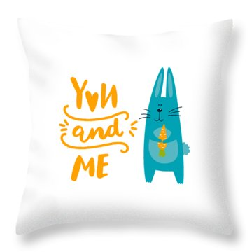 Throw Pillow featuring the digital art You And Me Bunny Rabbit by Edward Fielding