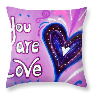 You Are Love Purple Heart Throw Pillow