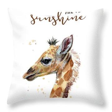 You Are My Sunshine Giraffe Throw Pillow