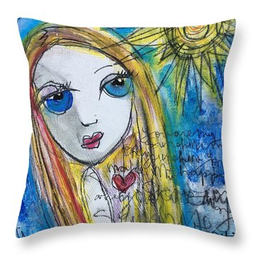 You Are My Sunshine  Throw Pillow by Laurie Maves ART