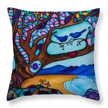 Throw Pillow featuring the painting Love Is All Around Us by Lori Miller