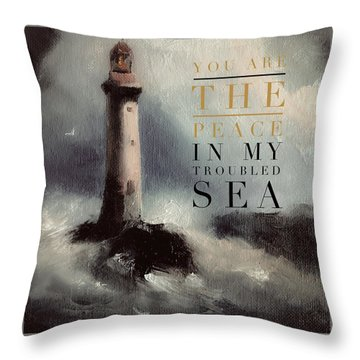 You Are The Peace In My Troubled Sea Lighthouse Throw Pillow