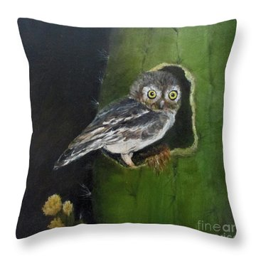 You Caught Me Throw Pillow by Roseann Gilmore