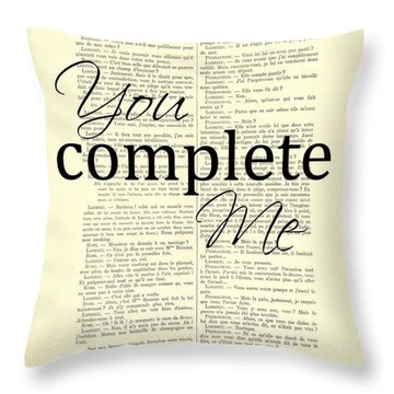 You Complete Me, Love Poster Throw Pillow