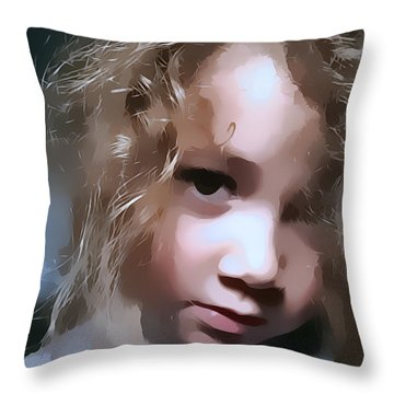 Throw Pillow featuring the digital art You Hurt Me Again by Kathy Tarochione