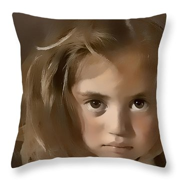 Throw Pillow featuring the digital art You Hurt Me by Kathy Tarochione