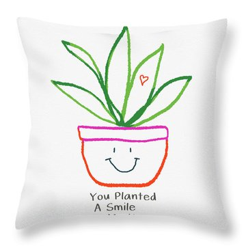 You Planted A Smile- Art By Linda Woods Throw Pillow