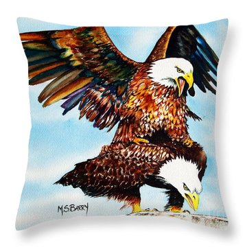 You Ruffle My Feathers Throw Pillow by Maria Barry
