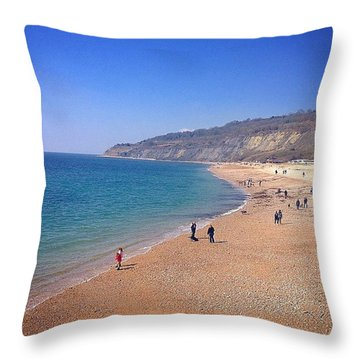 Lyme Regis Coast  Throw Pillow