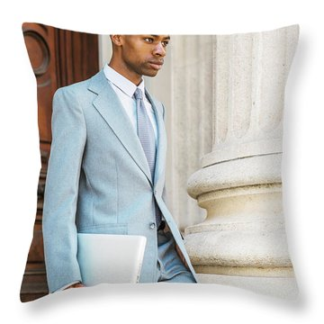 Young African American Businessman Working In New York Throw Pillow