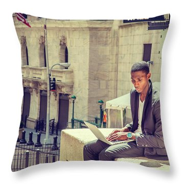 Young African American Man Working On Wall Street In New York Throw Pillow