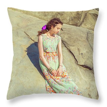 Young American Woman Summer Fashion In New York Throw Pillow