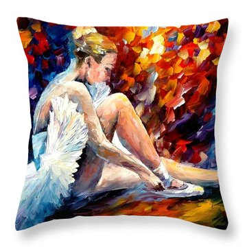Young Ballerina Throw Pillow by Leonid Afremov