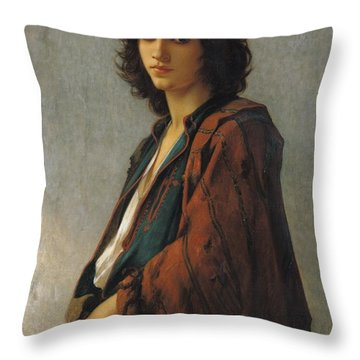 Young Bohemian Serb Throw Pillow by Charles Landelle