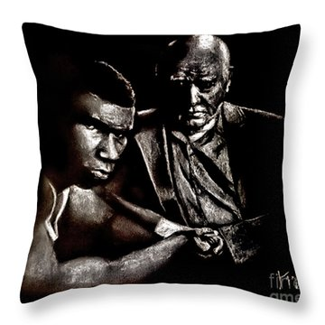 Young Boxer And Soon To Be World Champion Mike Tyson And Trainer Cus Damato Throw Pillow