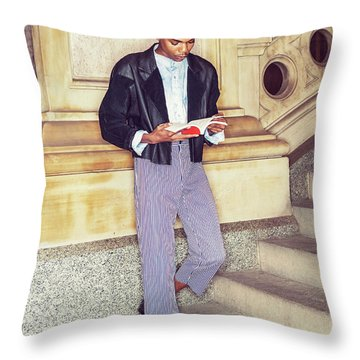 Throw Pillow featuring the photograph Young Boy Reading Book Outside 15042611 by Alexander Image
