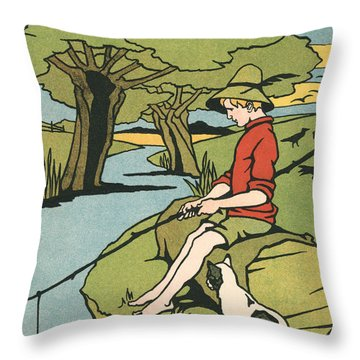 Young Boy Sitting On A Log Fishing In A Small River In The Country With His Cat Throw Pillow