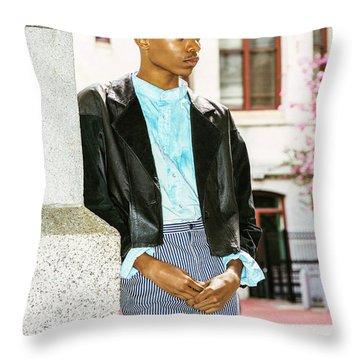Throw Pillow featuring the photograph Young Boy Thinking Outside 15042638 by Alexander Image