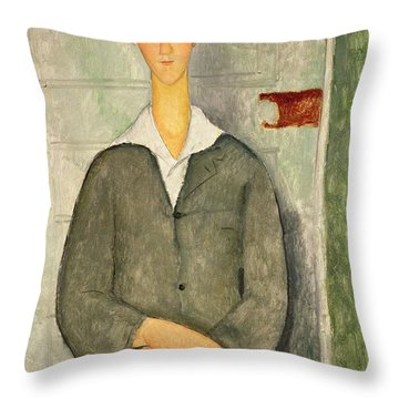 Young Boy With Red Hair Throw Pillow by Amedeo Modigliani