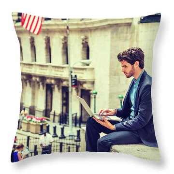 Young Businessman Working On Wall Street In New York Throw Pillow