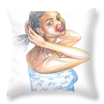 Throw Pillow featuring the painting Young Cameroun Woman Tying Her Hair by Emmanuel Baliyanga