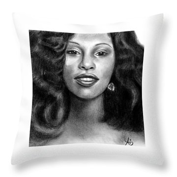 Young Chaka Khan - Charcoal Art Drawing Throw Pillow