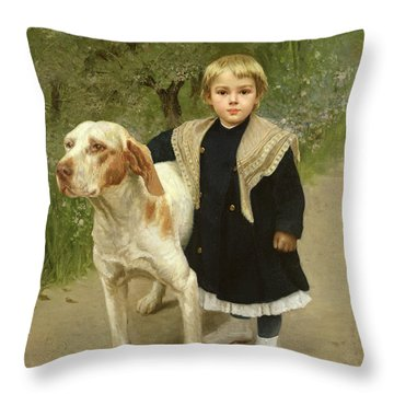 Young Child And A Big Dog Throw Pillow by Luigi Toro