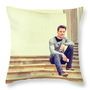 Throw Pillow featuring the photograph Young College Student On Campus 15042514 by Alexander Image