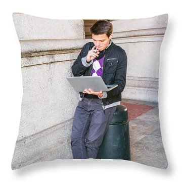 Throw Pillow featuring the photograph Young College Student Studying On Street In New York 15042520 by Alexander Image