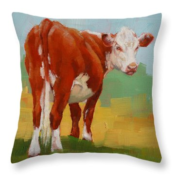 Young Cow Throw Pillow