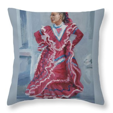 Young Dancer At Arneson Theater Throw Pillow by Connie Schaertl