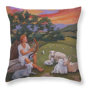 Young David As A Shepherd Throw Pillow