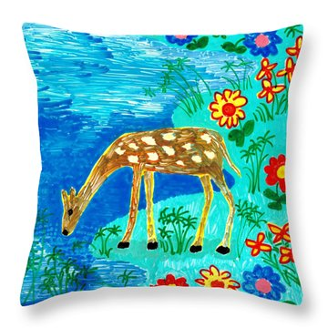 Young Deer Drinking Throw Pillow by Sushila Burgess