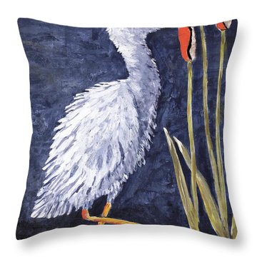 Young Egret Takes A Walk Throw Pillow