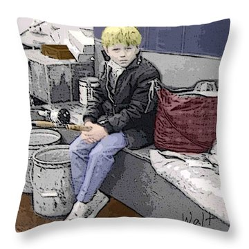 Young Fisherman Throw Pillow by Walter Chamberlain