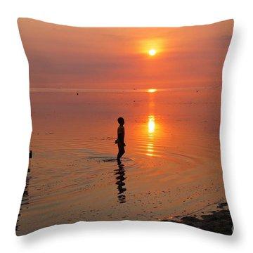 Young Fishermen At Sunset Throw Pillow